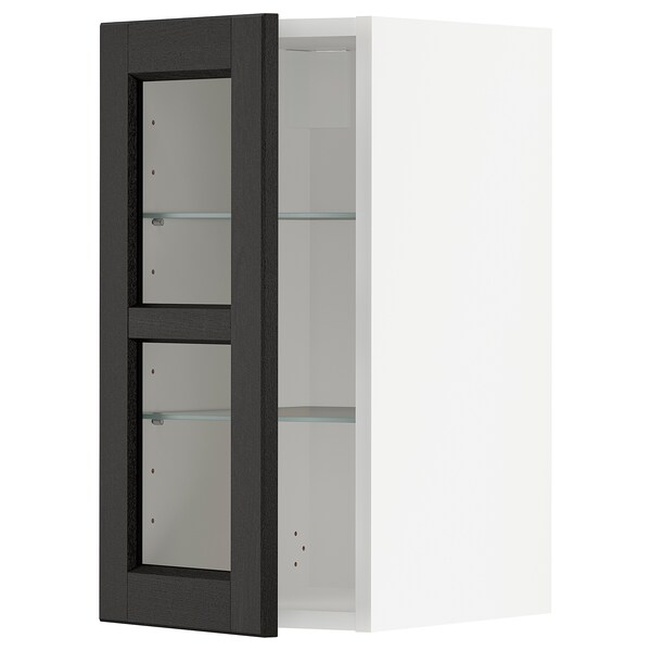 METOD Wall cabinet w shelves/glass door, white/Lerhyttan black stained, 30x60 cm