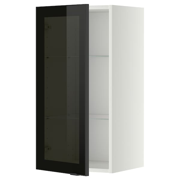 METOD wall cabinet w shelves/glass door white/Jutis smoked glass 40.0 cm 38.8 cm 80.0 cm