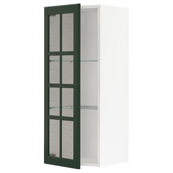 METOD wall cabinet w shelves/glass door white/Bodbyn dark green 40.0 cm 38.9 cm 100.0 cm