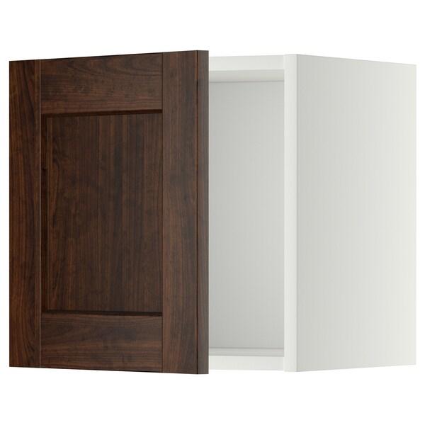 METOD Wall cabinet, white/Edserum brown, 40x40 cm