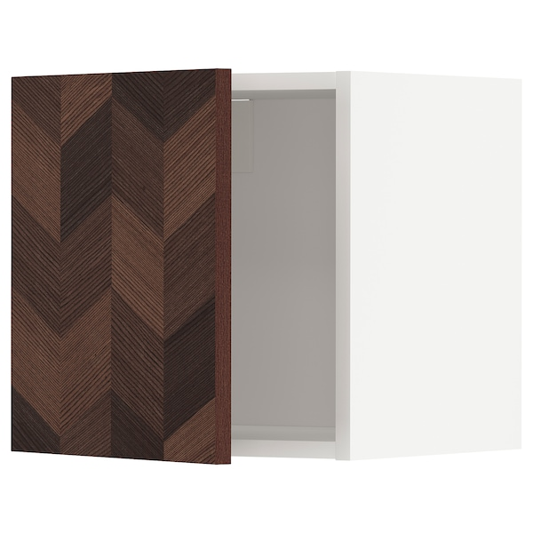 METOD Wall cabinet, white Hasslarp/brown patterned, 40x40 cm