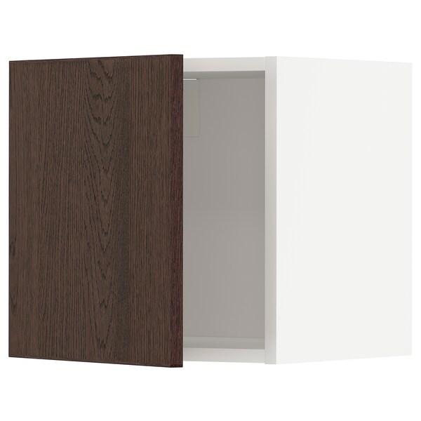 METOD Wall cabinet, white/Sinarp brown, 40x40 cm