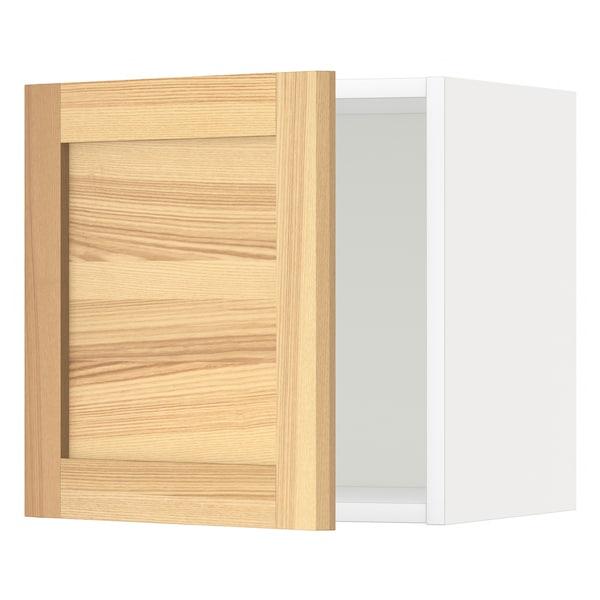 METOD Wall cabinet, white/Torhamn ash, 40x40 cm