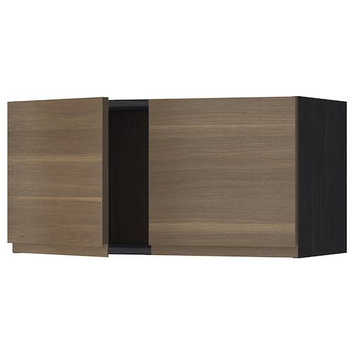 METOD wall cabinet with 2 doors black/Voxtorp walnut effect 80.0 cm 39.1 cm 40.0 cm