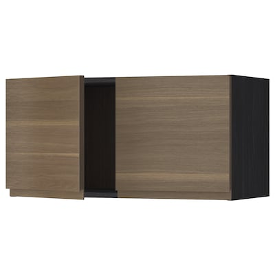 METOD Wall cabinet with 2 doors, black/Voxtorp walnut effect, 80x40 cm