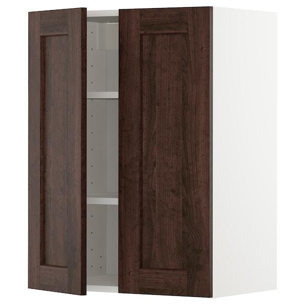 METOD خزانة حائط مع أرفف/بابين, أبيض/Edserum بني, 60x80 سم