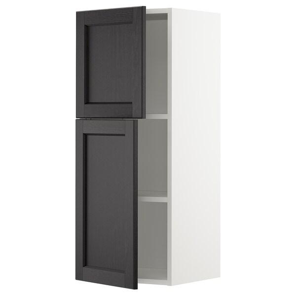 METOD خزانة حائط مع أرفف/بابين, أبيض/Lerhyttan صباغ أسود, 40x100 سم