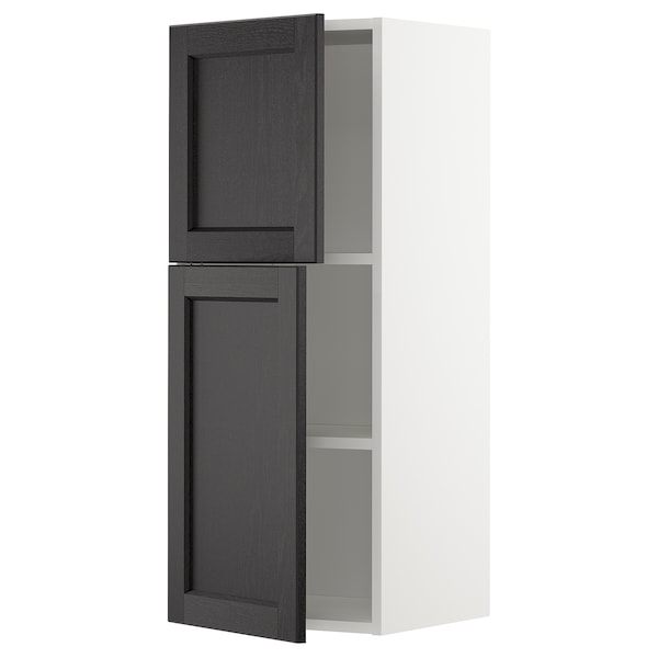 METOD Wall cabinet with shelves/2 doors, white/Lerhyttan black stained, 40x100 cm
