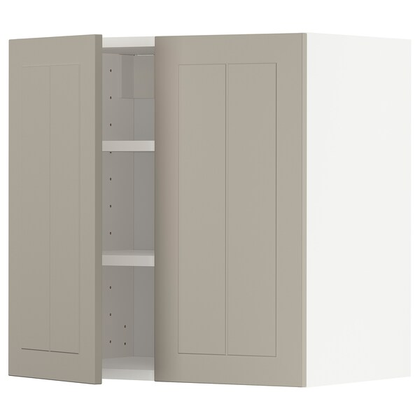 METOD Wall cabinet with shelves/2 doors, white/Stensund beige, 60x60 cm