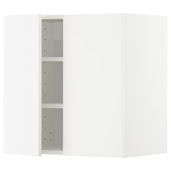 METOD خزانة حائط مع أرفف/بابين, أبيض/Veddinge أبيض, 60x60 سم