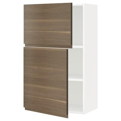 METOD خزانة حائط مع أرفف/بابين, أبيض/Voxtorp شكل خشب الجوز, 60x100 سم