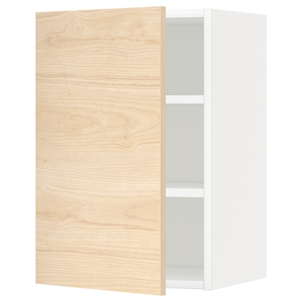 METOD خزانة حائط مع أرفف, أبيض/Askersund مظهر دردار خفيف, 40x60 سم