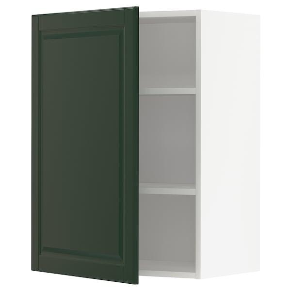 METOD خزانة حائط مع أرفف, أبيض/Bodbyn أخضر غامق, 60x80 سم
