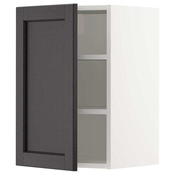 METOD خزانة حائط مع أرفف, أبيض/Lerhyttan صباغ أسود, 40x60 سم