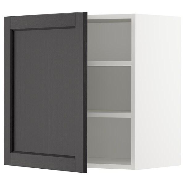 METOD خزانة حائط مع أرفف, أبيض/Lerhyttan صباغ أسود, 60x60 سم