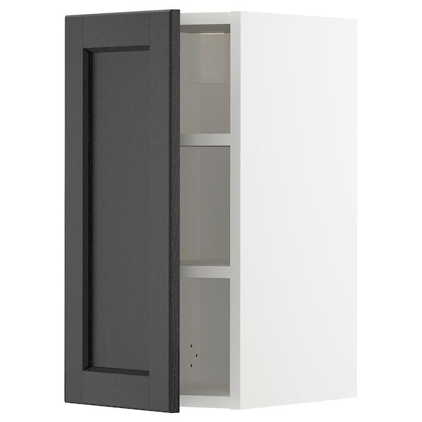 METOD خزانة حائط مع أرفف, أبيض/Lerhyttan صباغ أسود, 30x60 سم