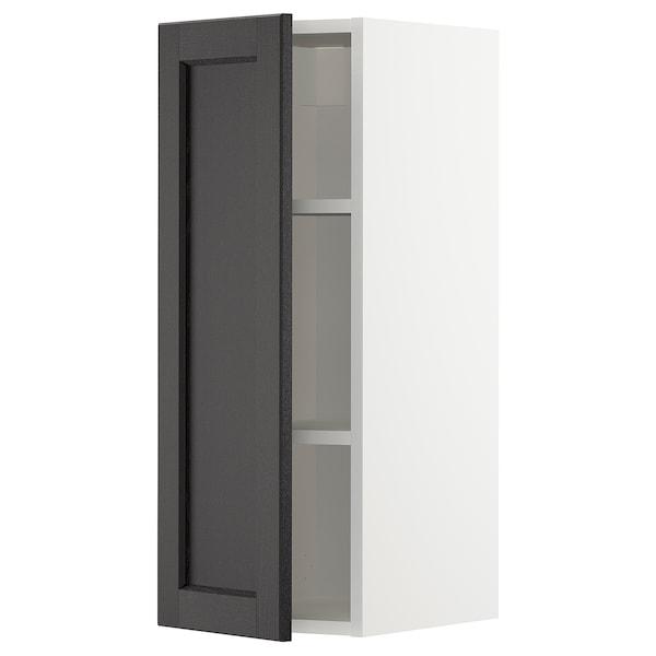 METOD خزانة حائط مع أرفف, أبيض/Lerhyttan صباغ أسود, 30x80 سم