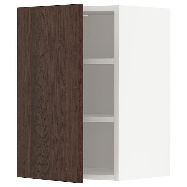 METOD خزانة حائط مع أرفف, أبيض/Sinarp بني, 40x60 سم