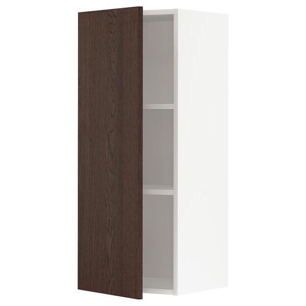 METOD خزانة حائط مع أرفف, أبيض/Sinarp بني, 40x100 سم