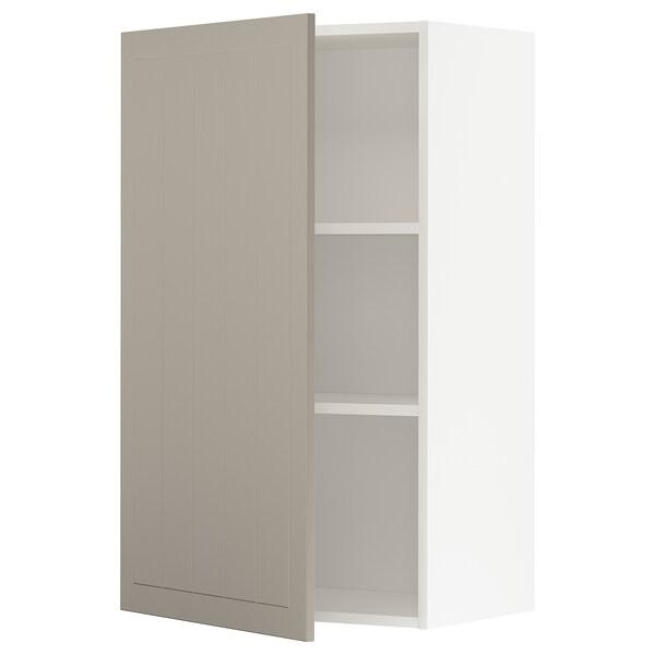 METOD خزانة حائط مع أرفف, أبيض/Stensund بيج, 60x100 سم