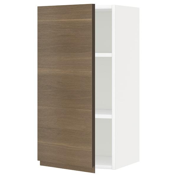 METOD خزانة حائط مع أرفف, أبيض/Voxtorp شكل خشب الجوز, 40x80 سم