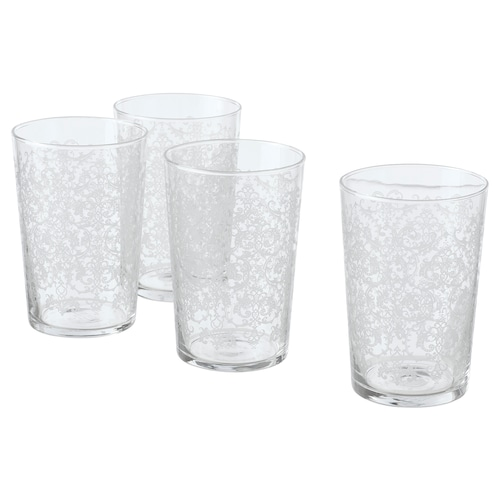 MUSTIGHET glass patterned/white 12.5 cm 46 cl 4 pieces