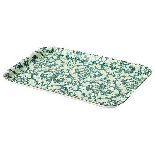 MUSTIGHET tray patterned/green 28 cm 20 cm