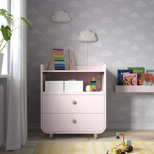 MYLLRA Changing table with drawers, pale pink