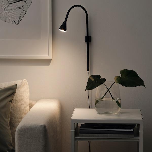 NÄVLINGE مصباح موجّه حائط /مشبك LED, أسود
