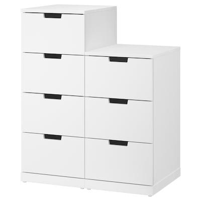 NORDLI خزانة بـ 7 أدراج, أبيض, 80x99 سم