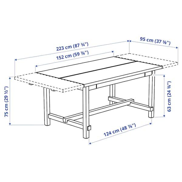 NORDVIKEN طاولة قابلة للتمديد, أسود, 152/223x95 سم