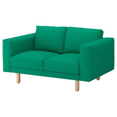 NORSBORG كنبة بمقعدين, Edum أخضر مشرق/خشب البتولا