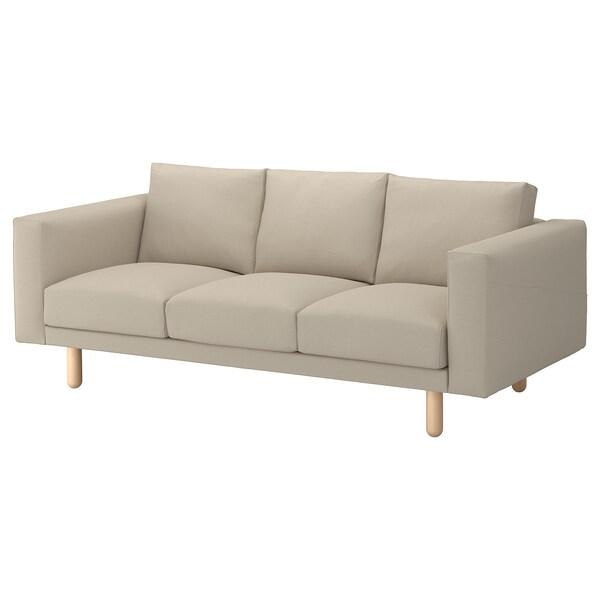 NORSBORG 3-seat sofa, Edum beige/birch