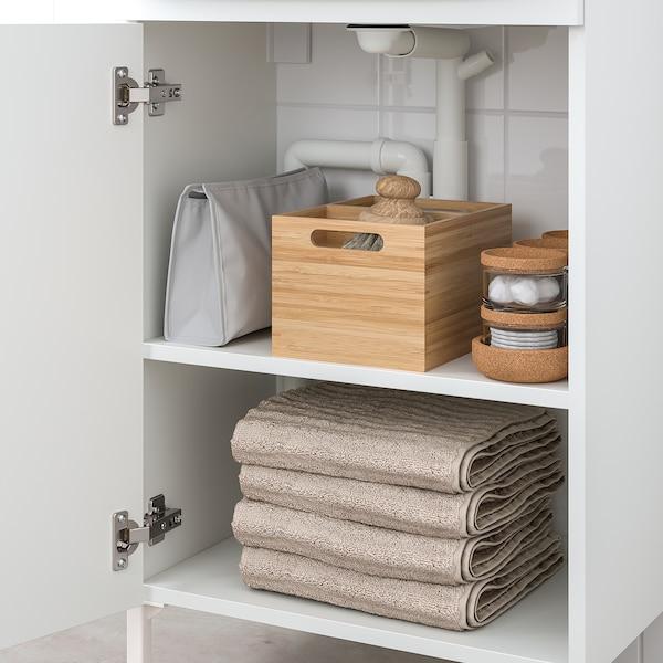NYSJÖN / BJÖRKÅN خزانة الحوض مع 1 باب, أبيض/حنفية Saljen, 54x98 سم