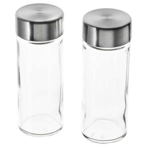 ÖRTFYLLD spice jar glass/stainless steel 11 cm 4 cm 10 cl 2 pieces