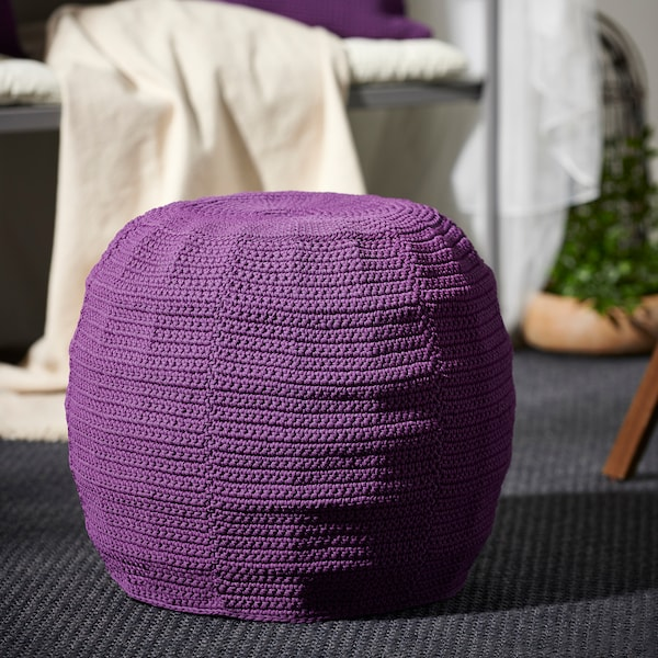 OTTERÖN / INNERSKÄR Pouffe, in/outdoor, purple, 48 cm