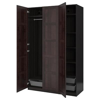 PAX / BERGSBO Wardrobe combination, black-brown, 150x60x236 cm