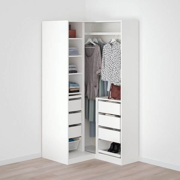 PAX / GRIMO Wardrobe combination, white/Grimo grey, 88/111x201 cm