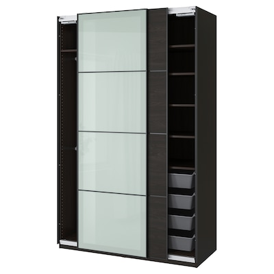 PAX / MEHAMN/SEKKEN Wardrobe combination, black-brown/frosted glass, 150x66x236 cm