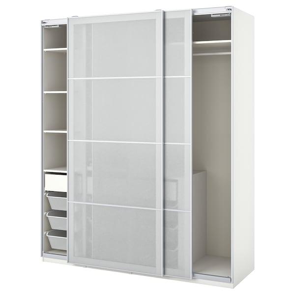 PAX / SVARTISDAL Wardrobe combination, white white/paper effect, 200x66x236 cm