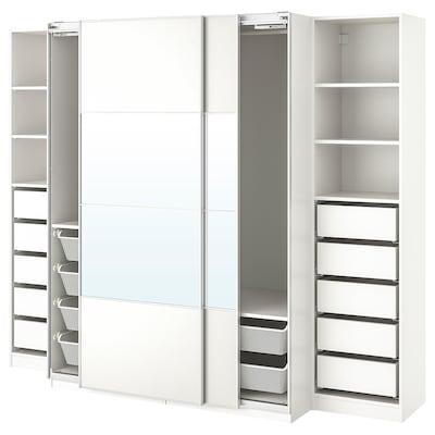 PAX Wardrobe, white/Mehamn Auli, 250x66x201 cm