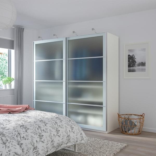 PAX خزانة ملابس, أبيض/Nykirke زجاج ضبابي، نقش محبب, 200x66x201 سم