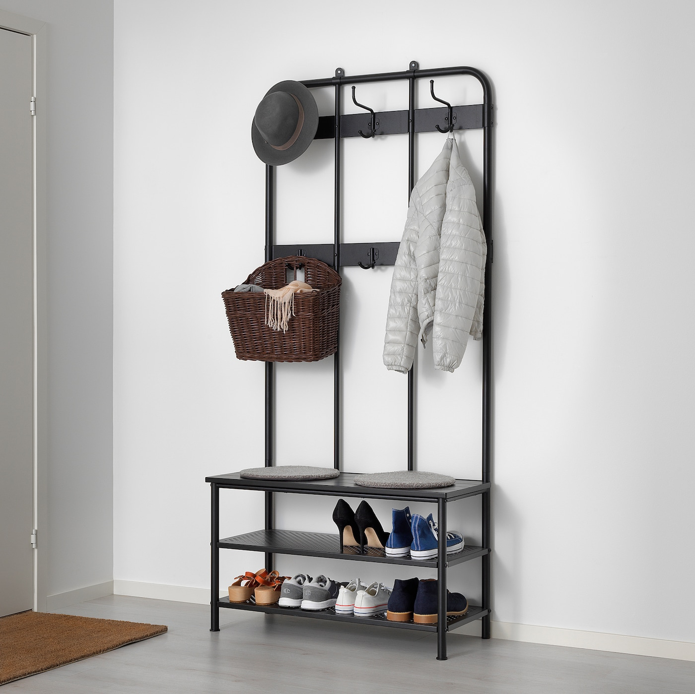 PINNIG Coat rack with shoe storage bench - black - IKEA