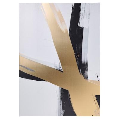 PJÄTTERYD Picture, golden brushstrokes, 50x70 cm
