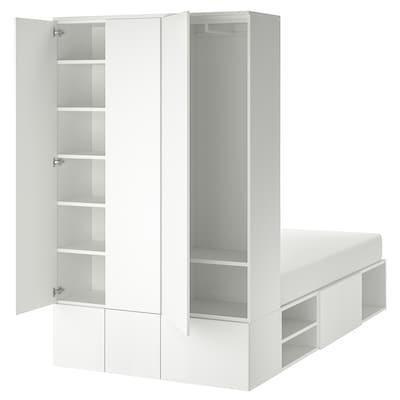 PLATSA Bed frame with 10 doors, white, 143x244x223 cm