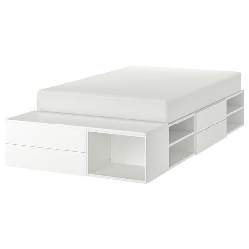PLATSA bed frame with 4 drawers white/Fonnes 40 cm 243.9 cm 141.7 cm 42.6 cm 200 cm 140 cm