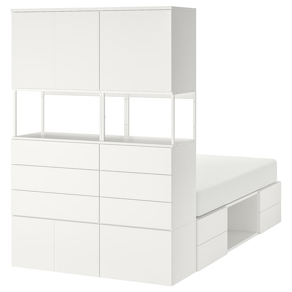 PLATSA Bed frame with 6 doors+12 drawers, white/Fonnes, 140x244x203 cm