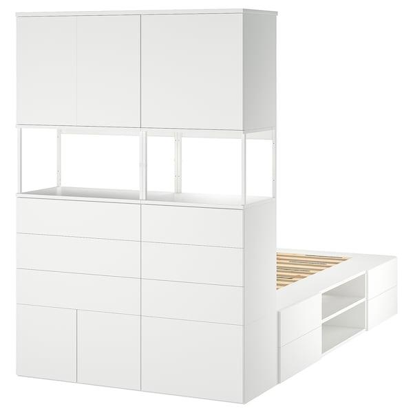 PLATSA Bed frame with 6 doors+12 drawers, white/Fonnes, 140x244x203 cm