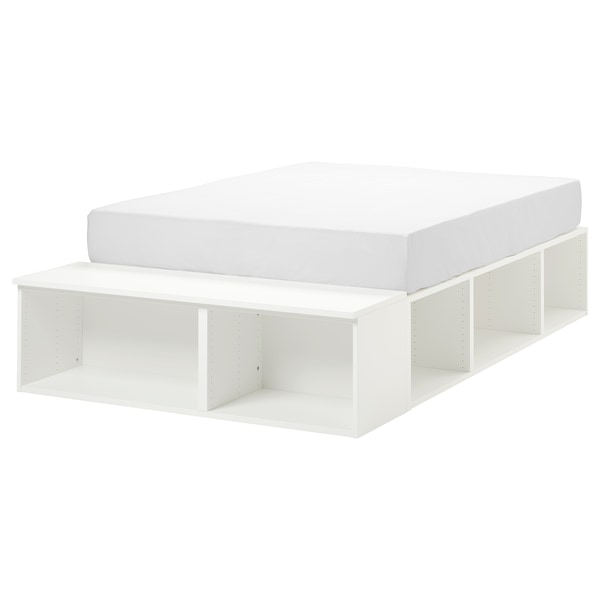 PLATSA bed frame with storage white 40 cm 244 cm 140 cm 43 cm 200 cm 140 cm