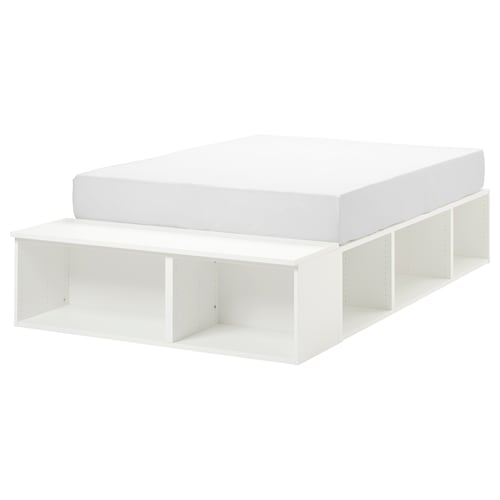 PLATSA bed frame with storage white 40 cm 244 cm 140 cm 43 cm 200 cm 140 cm
